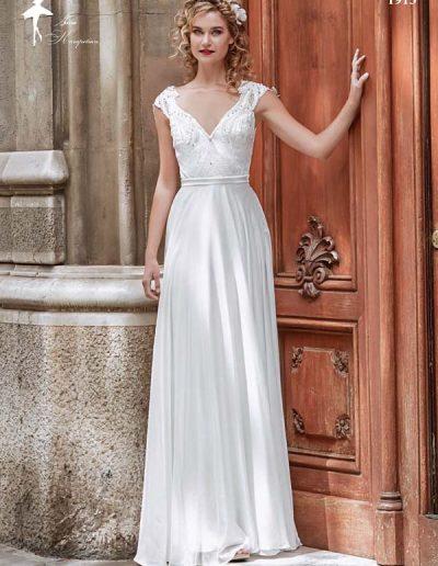 Vestido de novia escote V con manga