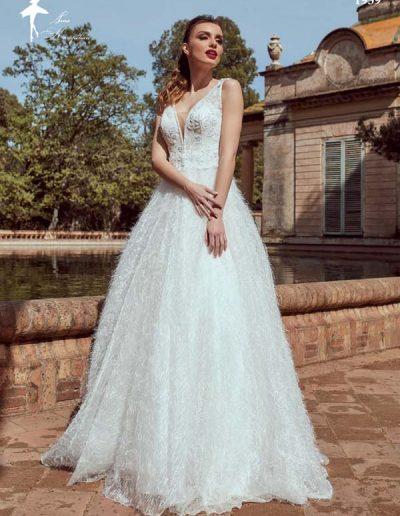 Vestido de novia con falda de textura