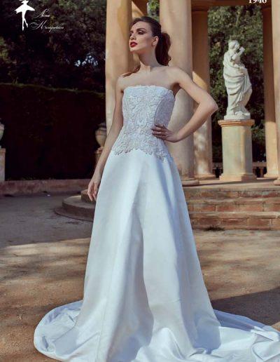 Vestido de novia palabra de honor bordado